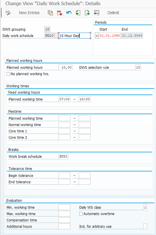 SAP Daily Work Schedule in Time Management
