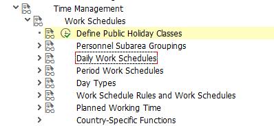 SAP Work Schedule Customization Menu