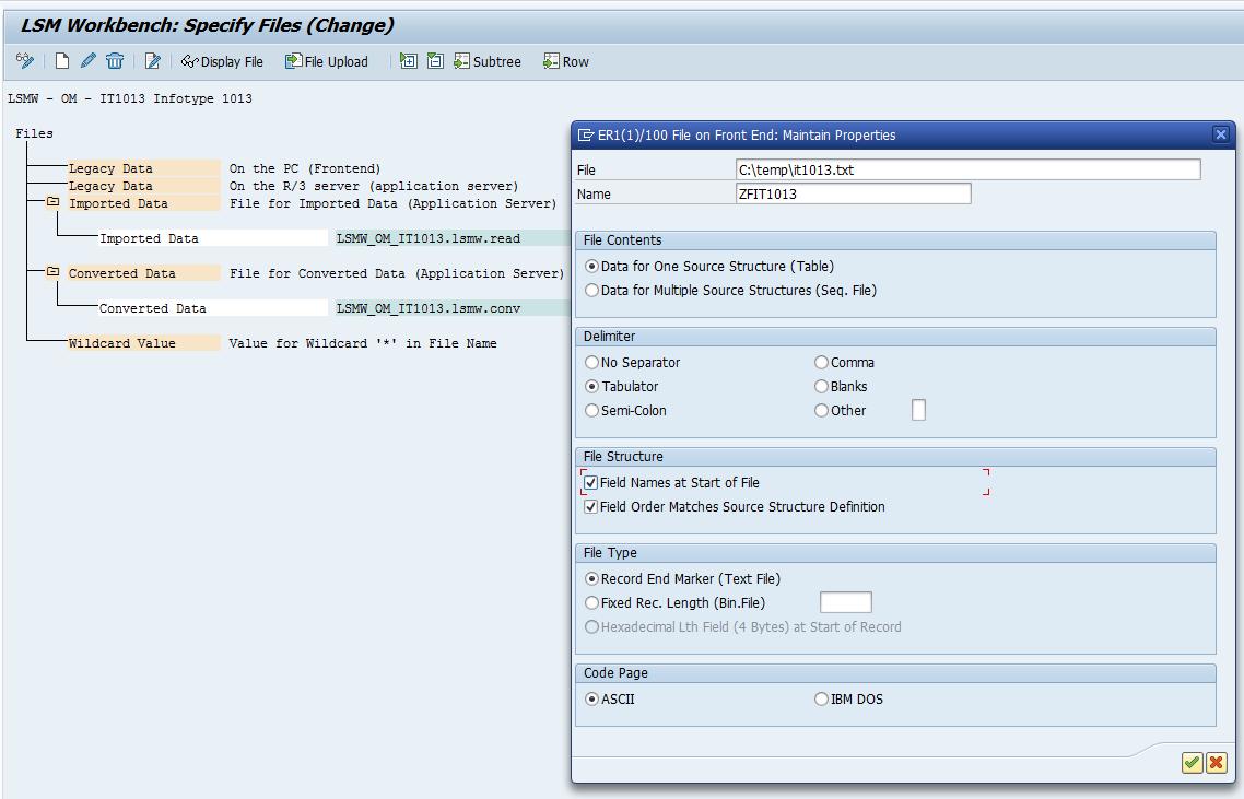 SAP LSMW Specify File