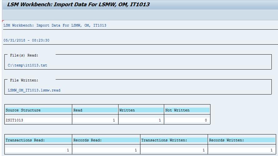 SAP LSMW Read Data Preview